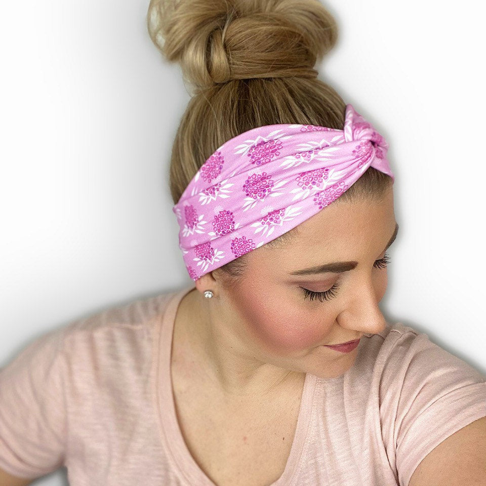 Pink Women's Headband with Floral Print