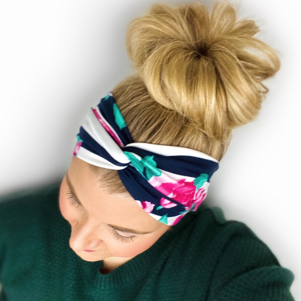 Striped Floral Twist Turban Headband