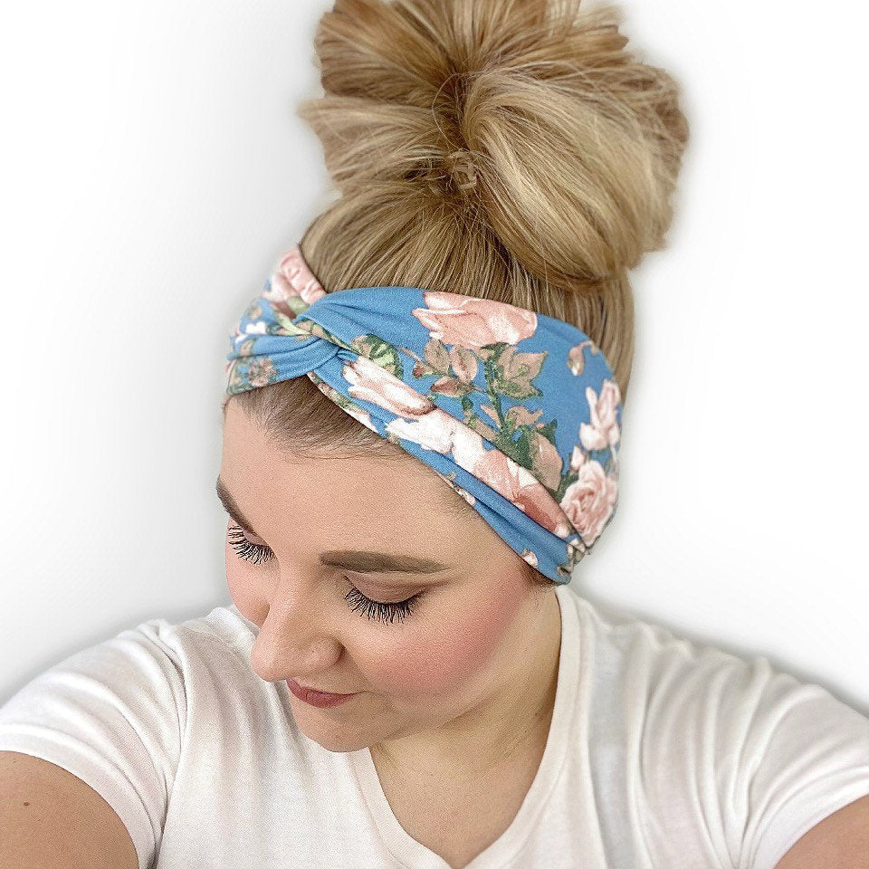 Blue Headband for Women with a Beige Floral Print
