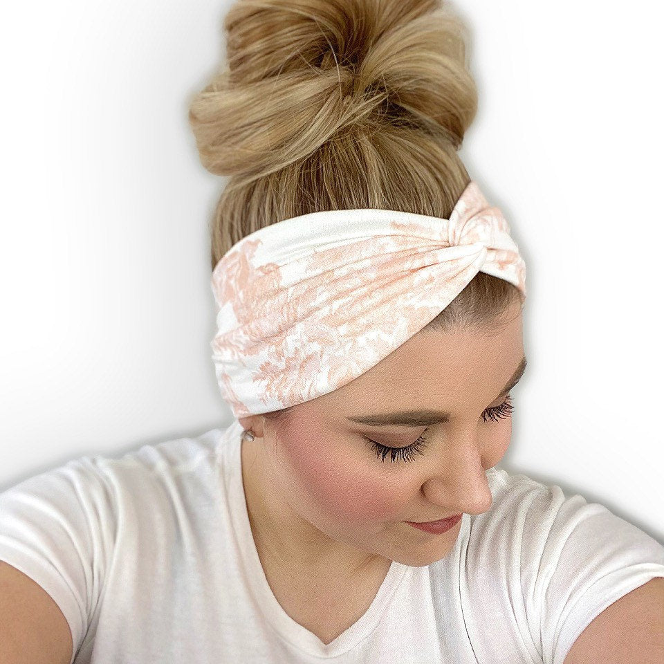 Ivory Headband for Women with a Peach Floral Print