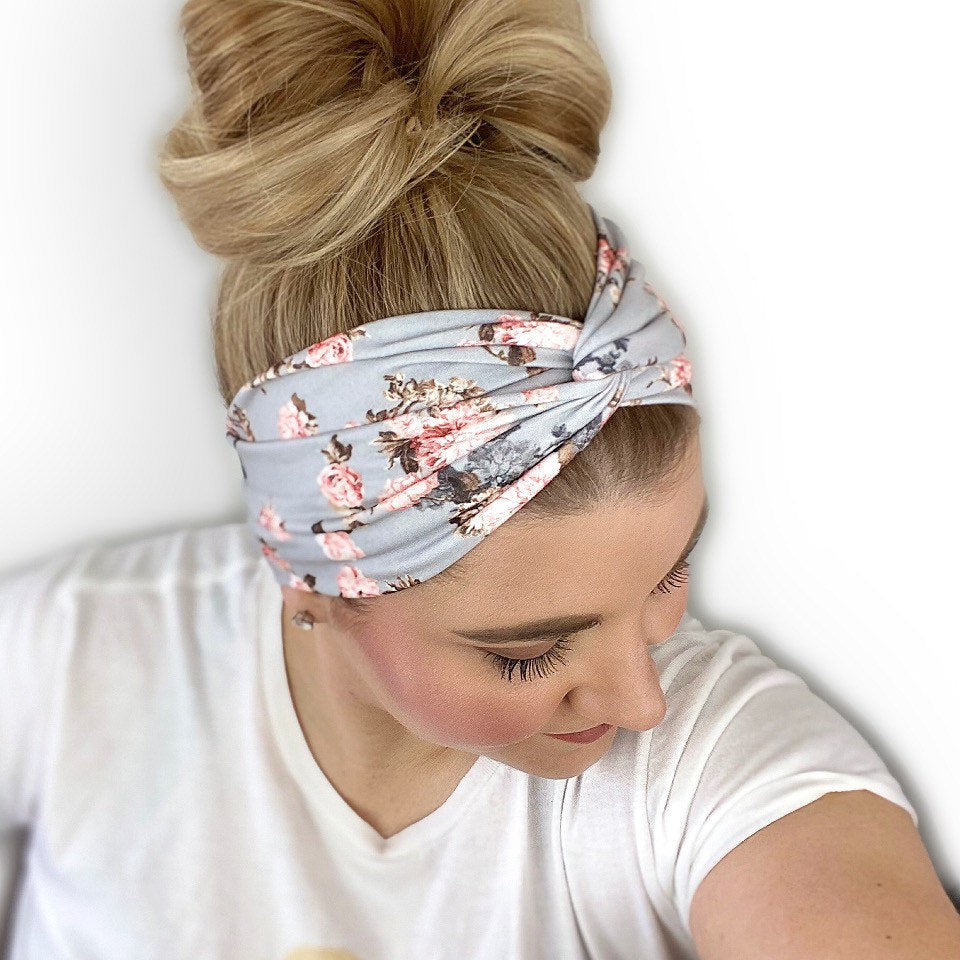 Silver Coral Floral Twisted Turban Headband