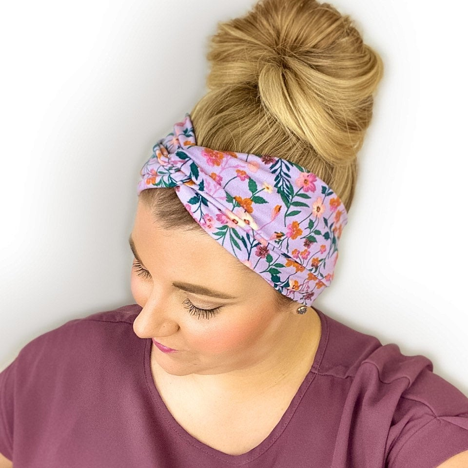 Purple headband for women with a flower print