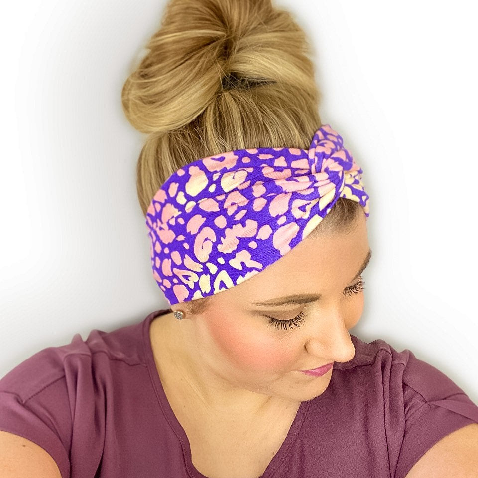 Purple Headband for women with an orange and yellow leopard print