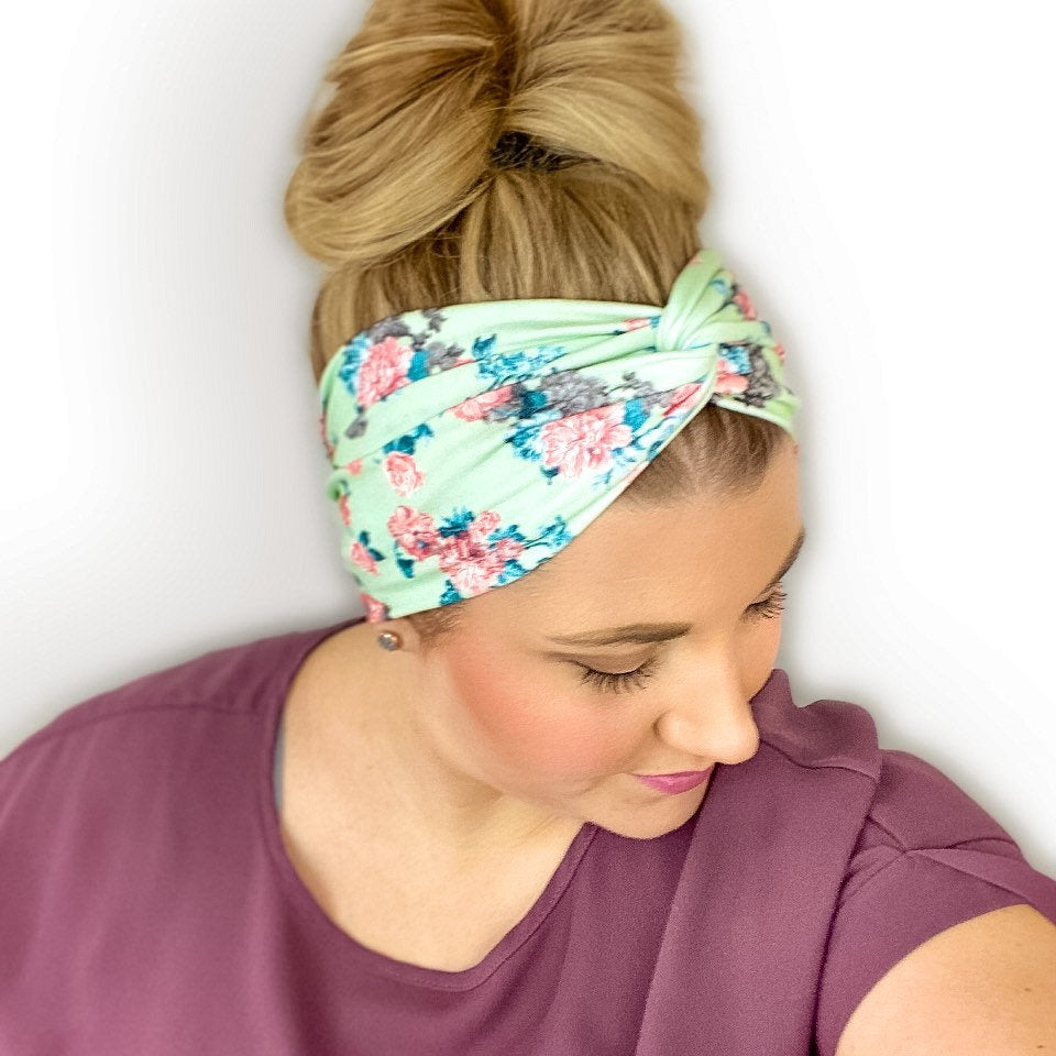 Mint green headband for women with flower print