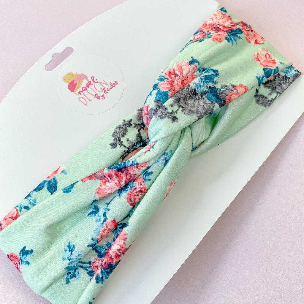 Mint Floral Twist Turban Headband