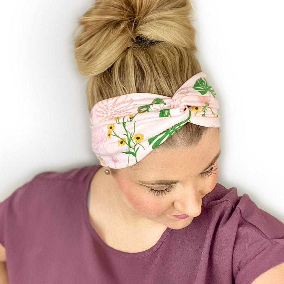 Blush Pink Headband for Women with a floral and leaf print