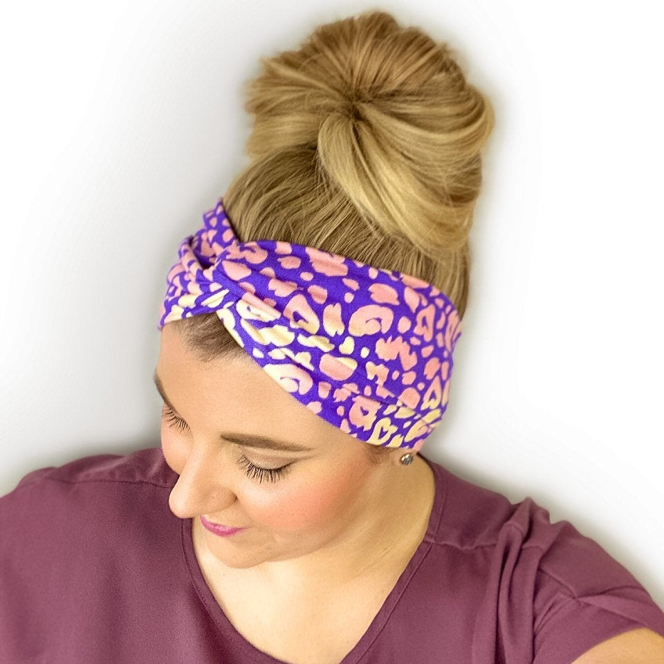 Neon Leopard Twist Turban Headband
