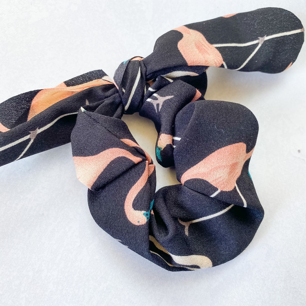 Black Flamingo Rabbit Ear Scrunchie