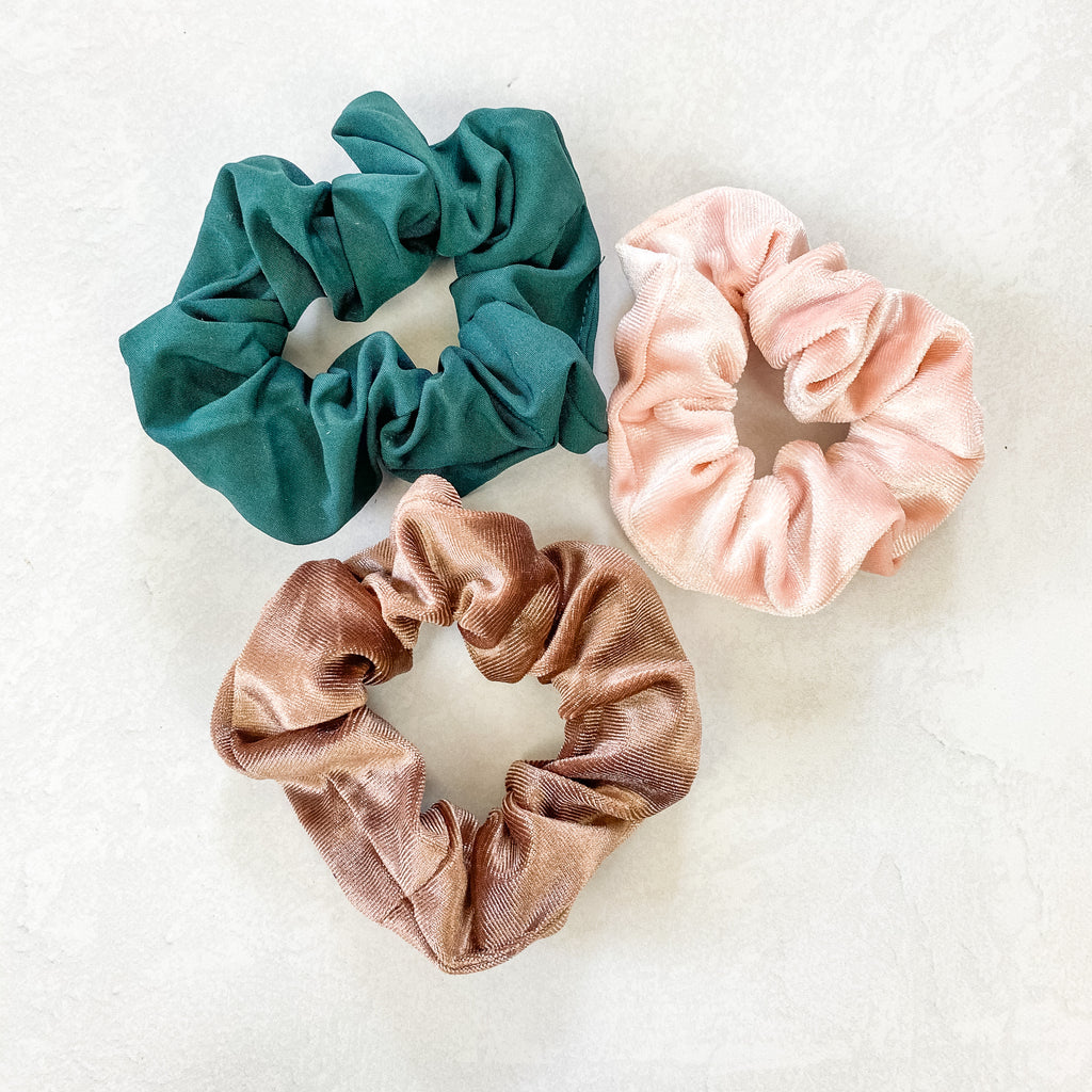 Forest/Tan/Blush Scrunchie Set
