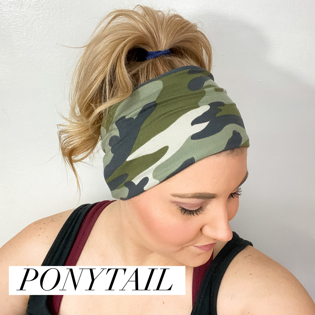 Striped Floral WIDE Headband
