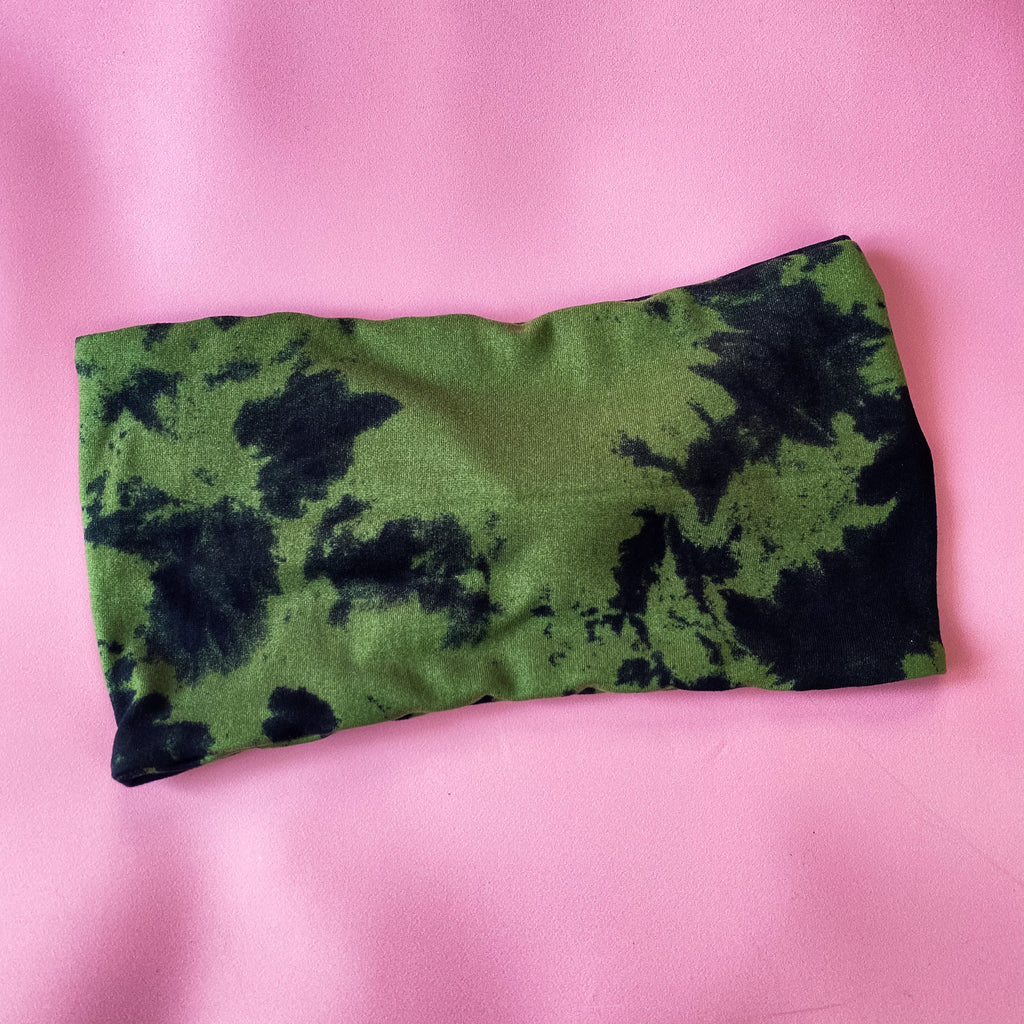 Olive/Black Tie Dye WIDE Headband