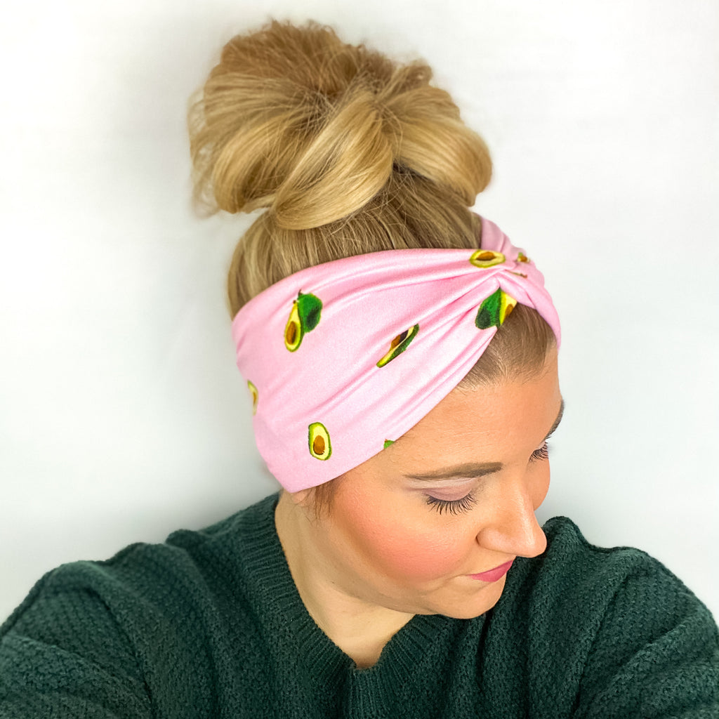Pink Avocado WIDE Headband