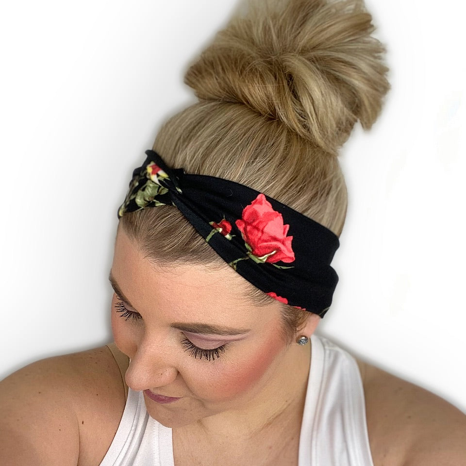 Black/Red Floral Classic Turban