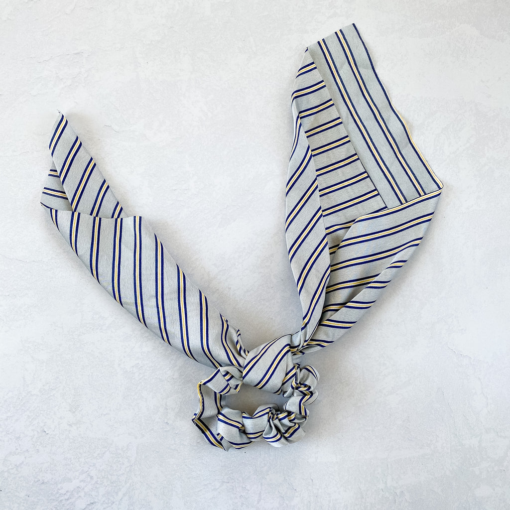 Light Blue Striped Scarf Scrunchie