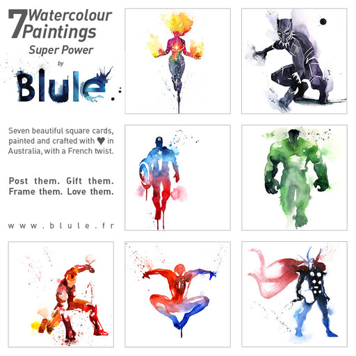 "7 Watercolour Cards Paintings ""Super Power"""