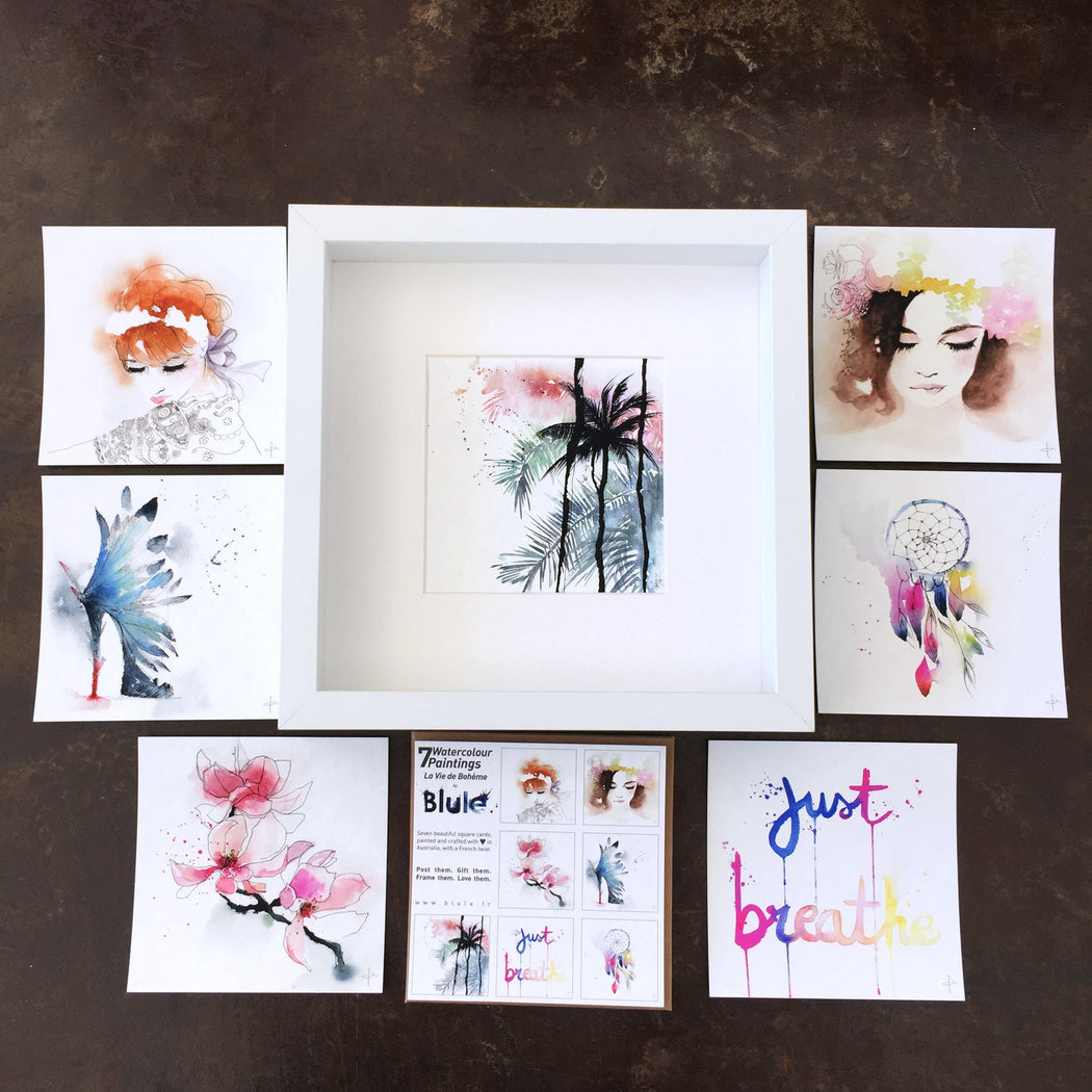 "7 Watercolour Cards Paintings ""La Vie de Bohème"""