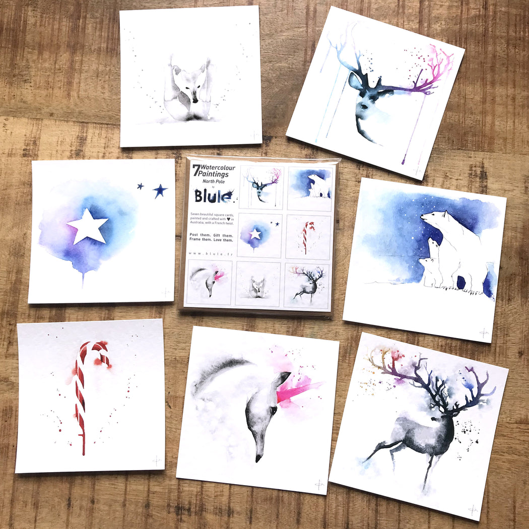 "7 Watercolour Cards Paintings ""North Pole """