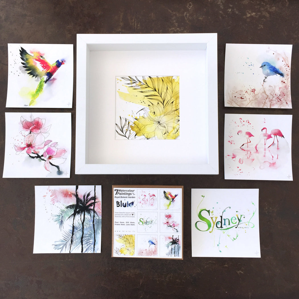 "7 Watercolour Cards Paintings ""Royal Botanic Garden"""
