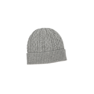 ANNA CASHMERE - Grey Cashmere Stitched Knitted Hat