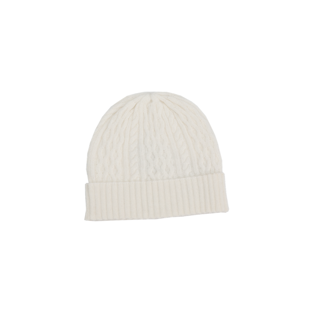 ANNA CASHMERE - White Cashmere Stitch Knitted Hat