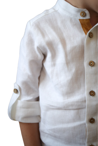 LILEN - Boys White Linen Stand-up Collar Shirt - Yuugen Store