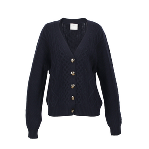 ANNA CASHMERE - Navy Buttoned Cardigan