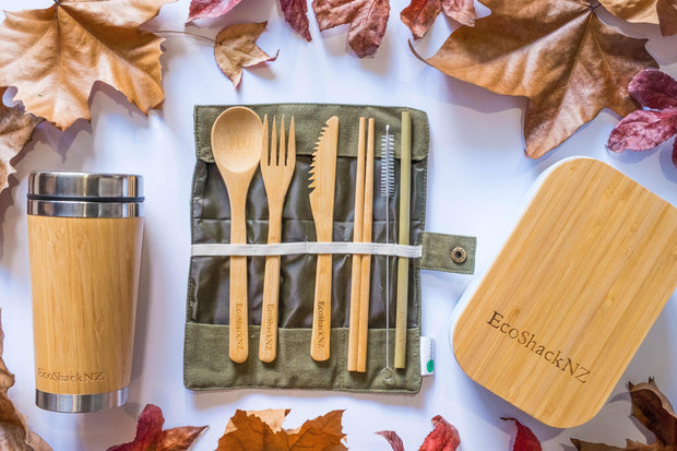 EcoShack Reusable Bamboo Cutlery Set with straw - EcoShackNZ