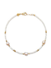 Women's Beaded Choker with Mother Of Pearl and Baroque White Pearl