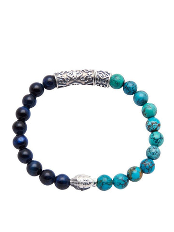 Men's Beaded Bracelet with Blue Tiger Eye and Bali Turquoise