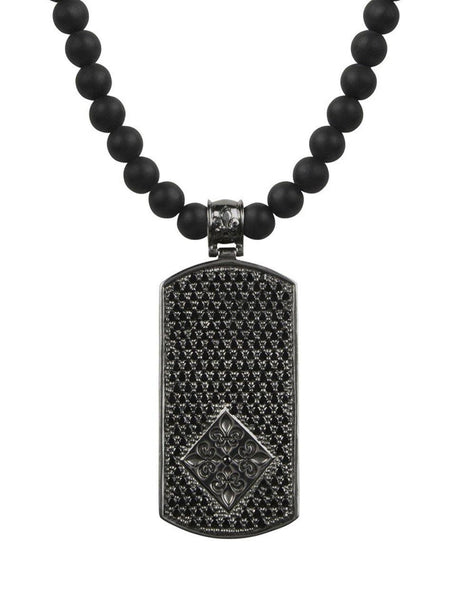 Men's Beaded Necklace with Matte Onyx and Black Dog Tag Pendant - Nialaya Jewelry  - 1