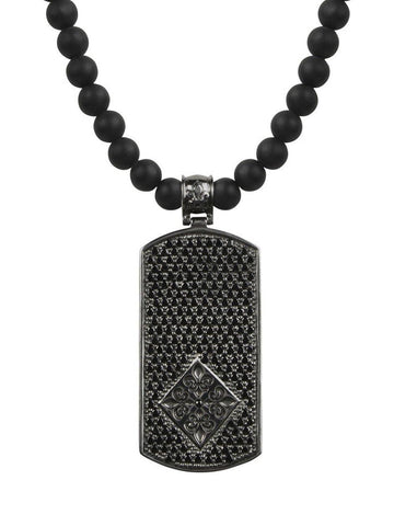 Men's Beaded Necklace with Matte Onyx and Black Dog Tag Pendant