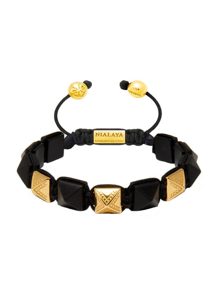 Men's Himalaya Collection - Matte Onyx and Gold - Nialaya Jewelry  - 1