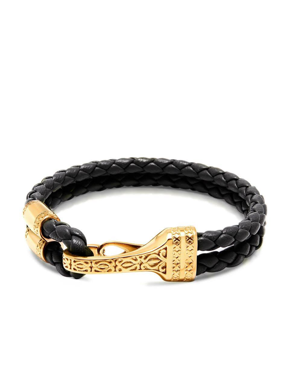 Men's Black Leather Bracelet with Gold Bali Clasp Lock