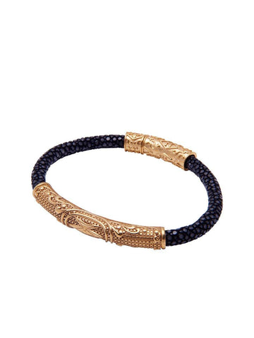 Men's Black Stingray Bracelet with Gold
