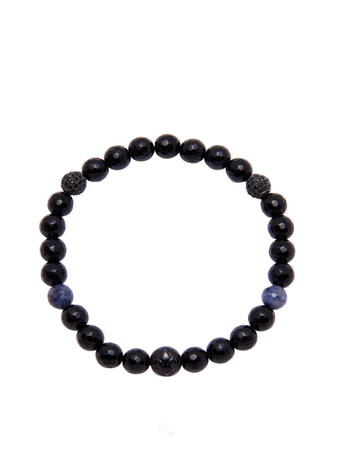 Women's Wristband with Black Agate and Sapphire - Nialaya Jewelry  - 1