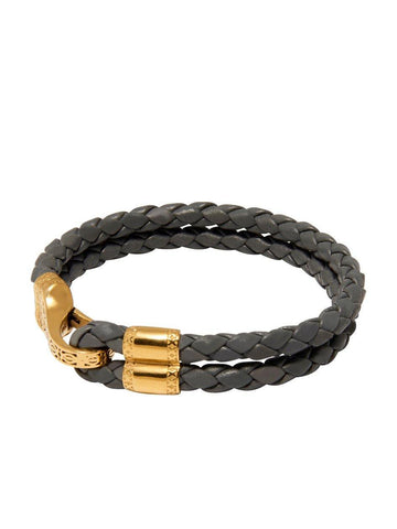 Men's Grey Leather Bracelet with Gold Bali Clasp Lock