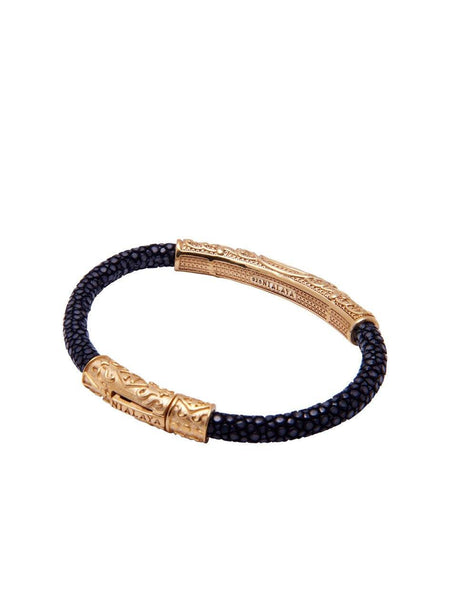 Men's Black Stingray Bracelet with Gold - Nialaya Jewelry  - 3