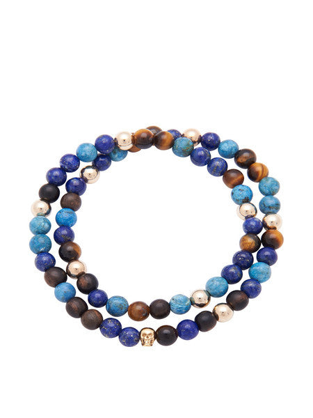 Men's 14K Gold Collection - Tiger Eye, Blue Lapis, Larimar, Ebony and Gold with Gold Skull - Nialaya Jewelry  - 3