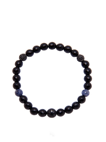 Women's Wristband with Black Agate and Sapphire