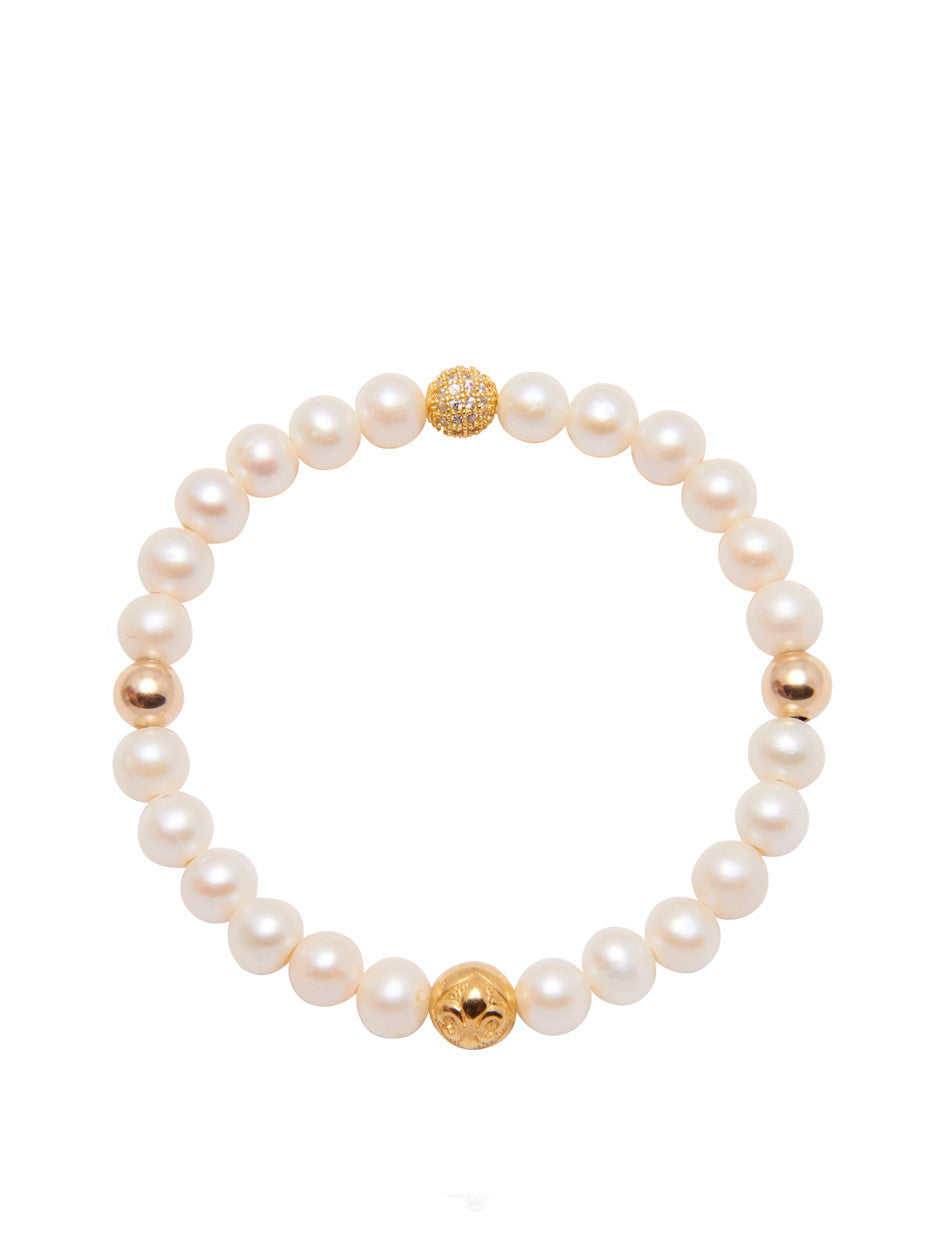 Women's Wristband with Pearl and Gold - Nialaya Jewelry  - 1