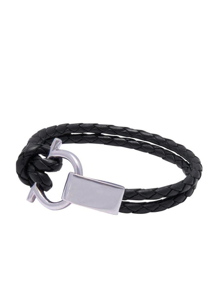 Men's Black Leather Bracelet with Silver Hook Closure - Nialaya Jewelry  - 1