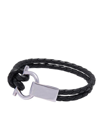 Men's Black Leather Bracelet with Silver Hook Closure
