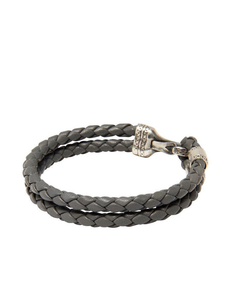 Men's Grey Leather Bracelet with Silver Bali Clasp Lock - Nialaya Jewelry  - 3