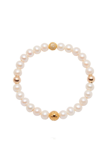 Women's Wristband with Pearl and Gold
