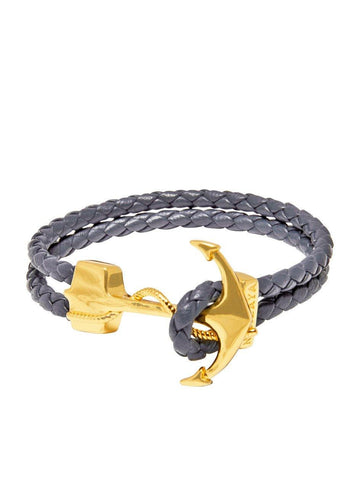 Men's Grey Leather Bracelet with Gold Anchor