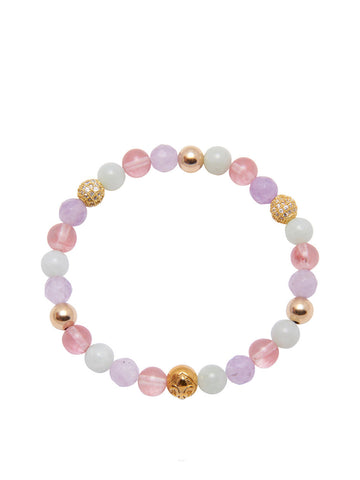 Women's Wristband with Cherry Quartz, Amethyst and Mint Jade