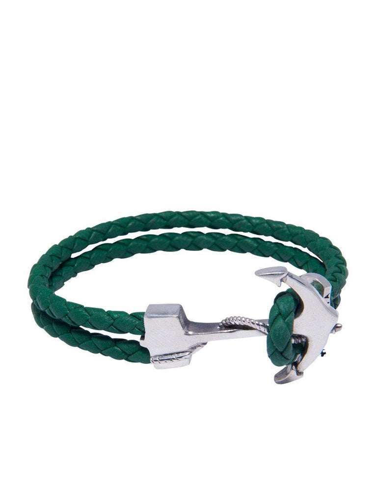 Men's Green Leather Bracelet with Silver Anchor - Nialaya Jewelry  - 1