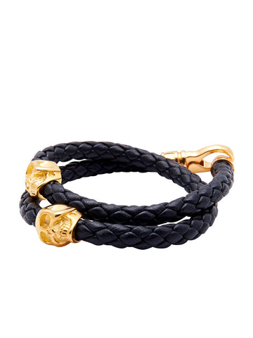 Men's Black Leather Bracelet with Gold Skulls