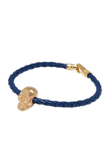 Men's Navy Leather With Gold Skull Bead - Nialaya Jewelry  - 1