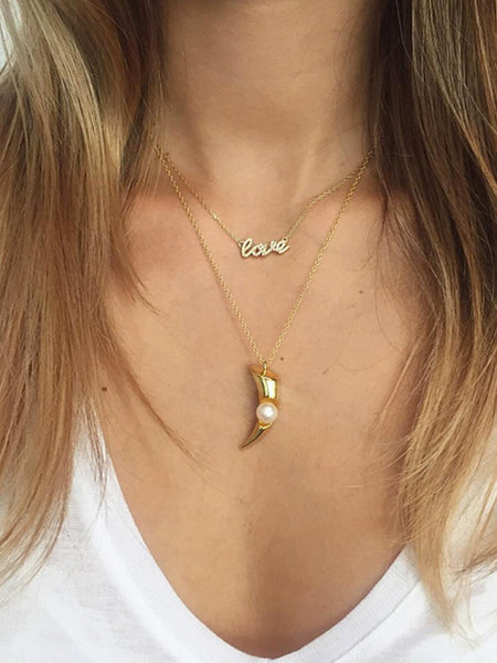 Skyfall Gold Love Necklace - Nialaya Jewelry  - 5
